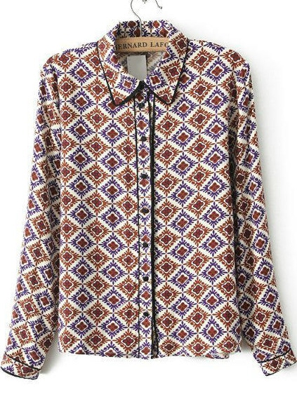 Purple Lapel Long Sleeve Geometric Print Blouse