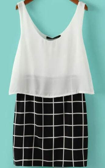 White Black V Neck Plaid Bodycon Dress