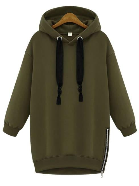 Hooded Eyelet Zipper Loose Sweatshirt sweatshirt140825106