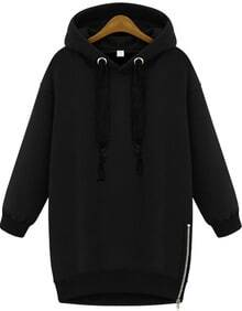 Black Hooded Long Sleeve Zipper Loose Sweatshirt