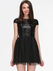 Black Cap Sleeve Sequin Pleated Dress