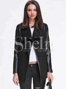 Black Lapel Contrast PU Leather Wool Coat