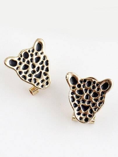 Gold Glaze Leopard Stud Earrings