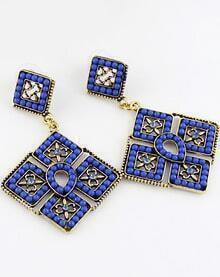 Blue Bead Gold Geometric Earrings