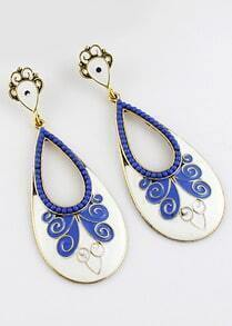 Blue Bead Glaze Gold Drop Earrings