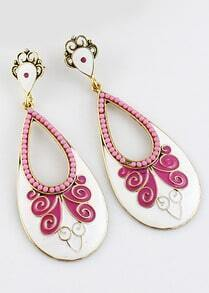 Pink Bead Glaze Gold Drop Earrings
