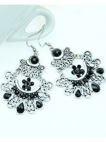 Black Gemstone Silver Hollow Earrings