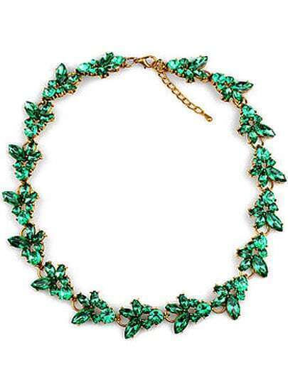 Green Gemstone Gold Chain Necklace