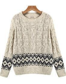 Apricot Long Sleeve Geometric Pattern Cable Knit Sweater
