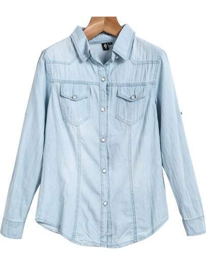 Blue Lapel Long Sleeve Classic Denim Blouse