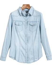 Blue Lapel Long Sleeve Classic Denim Blouse