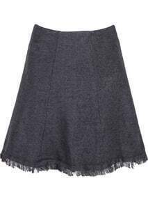 Grey High Waist Tassel Knit Skirt