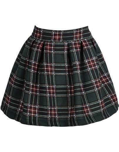 Green Plaid Flare Skirt