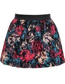 Red High Waist Floral Flare Skirt
