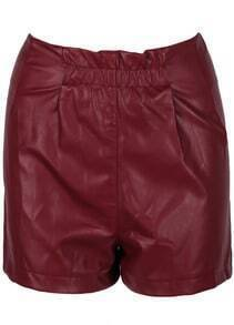 Red Zipper Slim Leather Shorts