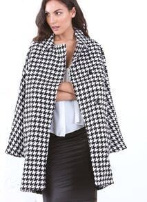 Black Long Sleeve Houndstooth Print Oversized Coat