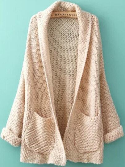 Beige Long Sleeve Pockets Knit Loose Cardigan -SheIn(Sheinside)