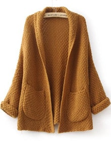 Camel Long Sleeve Pockets Knit Loose Cardigan