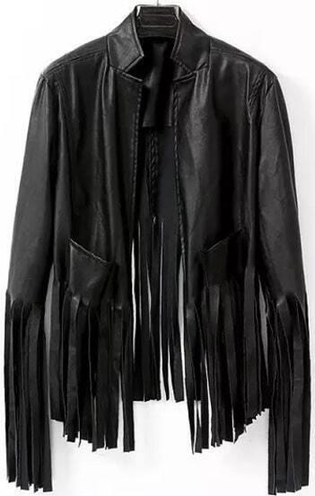 Black Long Sleeve Tassel PU Leather Jacket