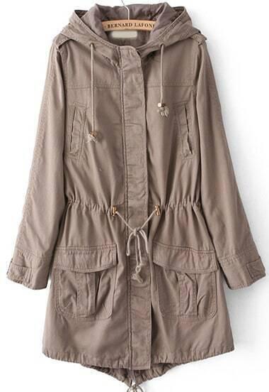 Khaki Hooded Long Sleeve Drawstring Loose Coat