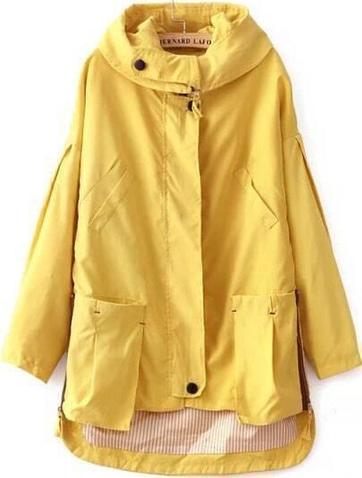 Yellow Hooded Long Sleeve Pockets Coat