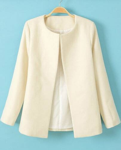 White Long Sleeve Slim Woolen Coat