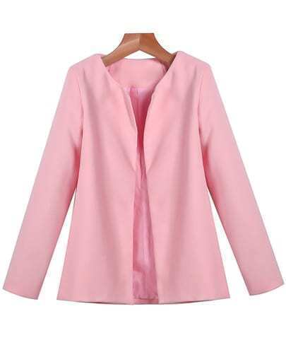 Pink Long Sleeve Slim Woolen Coat