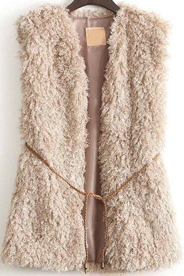 Khaki Sleeveless Belt Embellished Coat