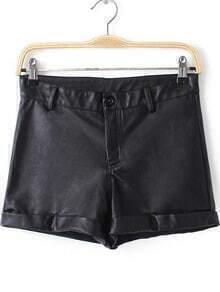 Black High Waist Straight PU Leather Shorts