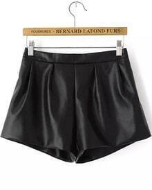 Black Elastic Waist Loose Leather Shorts