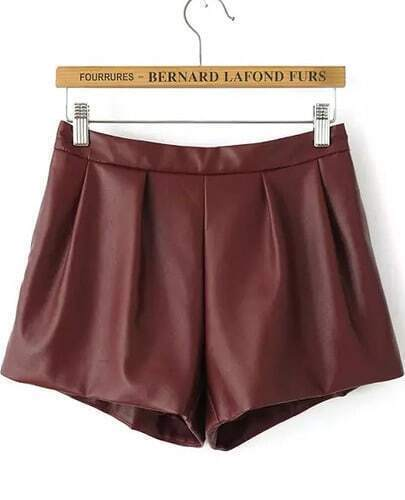 Wine Red Elastic Waist Loose Leather Shorts
