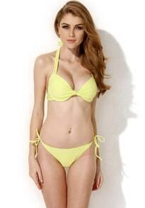 Yellow Halter Top Bikini Swimwear