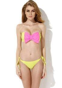 Yellow Bandeau Top Bikini Swimwear with A Playful Bow
