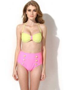 Yellow Pink Bikini Swimwear with Bandeau Top