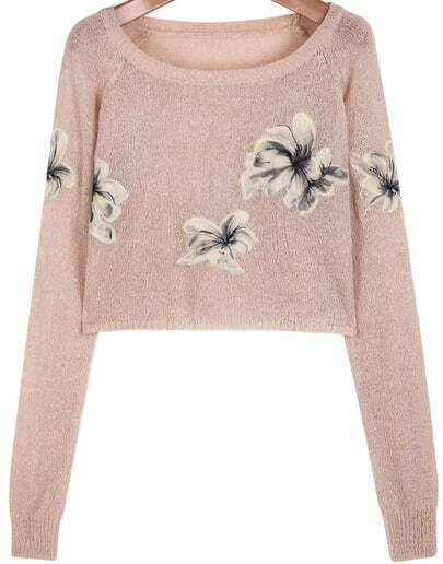 Pink Long Sleeve Floral Crop Knit Sweater