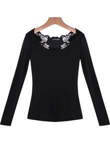 Black Long Sleeve Hollow Lace Knit T-Shirt