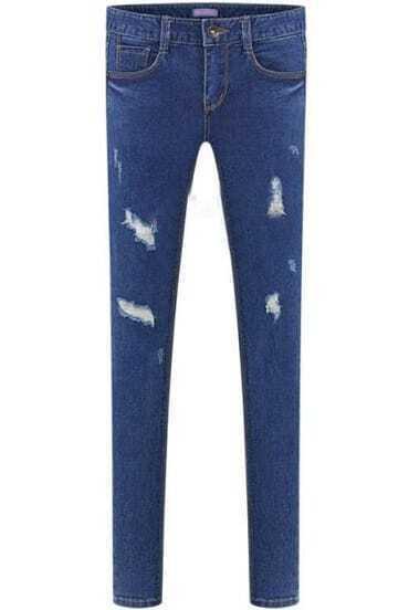 Blue Vintage Slim Pockets Ripped Denim Pant