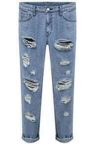 Blue Slim Ripped Denim Pant