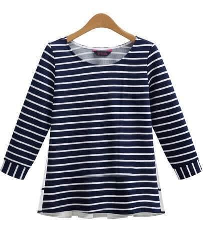 Blue White Long Sleeve Contrast Chiffon Striped T-Shirt