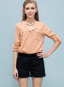 Orange Long Sleeve Pockets Chiffon Blouse