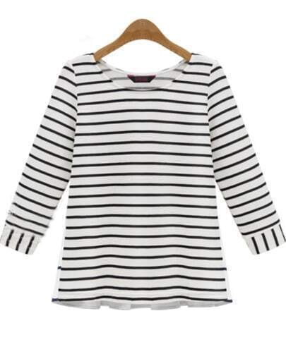Black White Long Sleeve Contrast Chiffon Striped T-Shirt