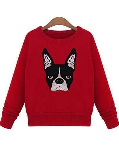 Red Long Sleeve Dog Print Sweatshirt