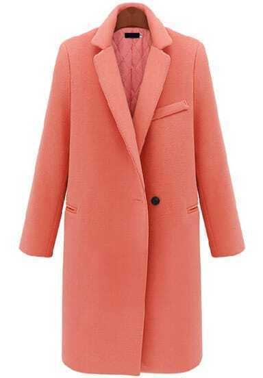 Pink Lapel Long Sleeve Slim Woolen Coat