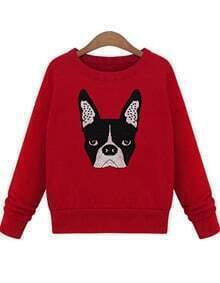 Red Long Sleeve Dog Print Sweatshirt