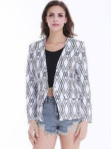 White Long Sleeve Black Diamond Print Crop Blazer