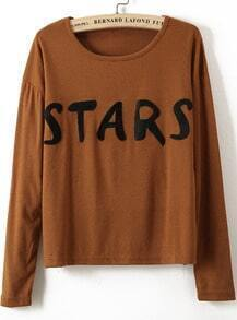 Coffee Long Sleeve STARS Print Loose T-Shirt