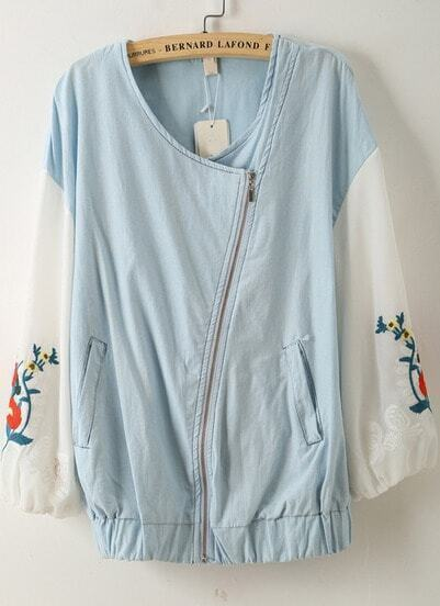 Blue Long Sleeve Oblique Zipper Embroidered Jacket