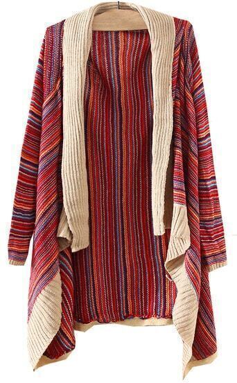 Red Long Sleeve Striped Asymmetrical Cardigan