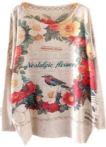 Beige Batwing Long Sleeve Floral Birds Print Sweater