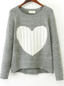 Grey Long Sleeve Heart Print Knit Sweater